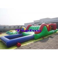 Customized Inflatable Water Parks Obstacle / Inflatable Water Slide With Pool