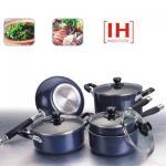 Cookware antiadhésif en aluminium du noir 9pcs réglé avec le fond d'IH