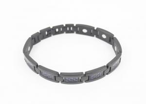 China Blue Carbon Fiber Magnetic Therapy Bracelet , Lightweight Mens Titanium Bracelets on sale