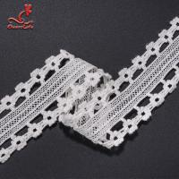 China Stretch Border Lace Trim White Lace Cotton Lace Trim Clothing Tags on sale