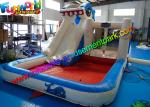 Shark Outdoor Inflatable Water Slides  ,  Air Combo Bouncer With Water Pool