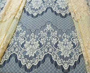 China Decorative Eyelash Nylon Lace Fabric Scalloped Yellow Polyamide for Night Dress(CY-DN0005) on sale