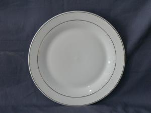 China Ceramic Plates with Gold Lines,Customized Designs,Logos Accepted,Microwave,Dishwasher Safe on sale