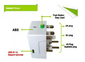 China Multi Plug travel adaptor with USB 5V 1A charger on sale