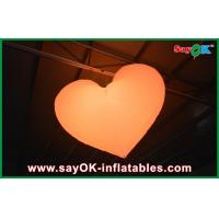 China Orange / Red Led Inflatable Light Hanging Heart For Christmas Decoration on sale