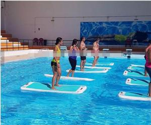 China PVC inflatable air Yoga mat in all colors  used on the water or on the ground on sale