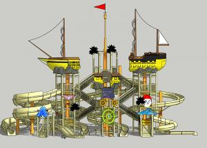 China Pirate Ship Water Theme Park / Outdoor Aqua Playground For Family on sale