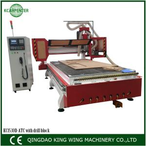 China CNC Router with carousel tool changer and drill block HSD spindle syntec controller on sale