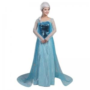 China Princess Dress Wholesale Blue Satin Yarn Sequin cloth Custom made Princess Elsa Blue Dress on sale