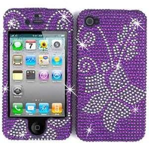 China purple Customized  diamond flower apple iphone 4 cases with waterproof on sale