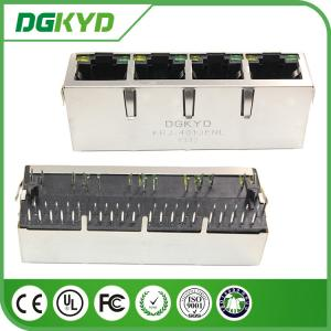 China 1 x 4 Port Integrated Magnetics RJ45 Ethernet Connector Gigabit network jack with LED on sale