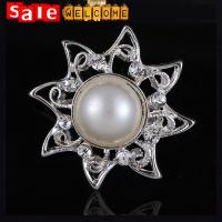Silver Sun Flower Wedding Brooch for Women Man ,Christmas Metal Pearl Brooch Lapel Pin
