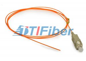 China OM1 OM2 Fibre Optic Pigtails With Simplex Orange PVC Outer Jacket on sale