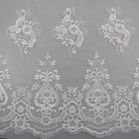 3D Eyelash Polyester Yarn On Nylon Mesh Corded Embroidery Lace Fabric For Bridal