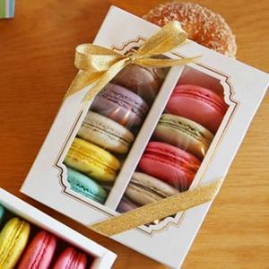 China Personalised Macaron Food Packaging Box With Clear Window 15.7x12.8x5.8cm on sale