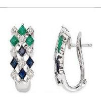 14K White Gold Earrings Sapphire, Emerald and Diamond earring