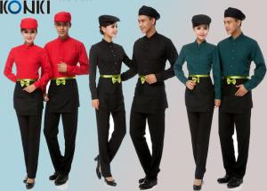 China Cool Restaurant Staff Uniforms With Solid Color Long Sleeve Shirt And Pants on sale
