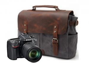 China CL-900 Gray Classical Design Waxed Canvas and Leather Camera Bag on sale