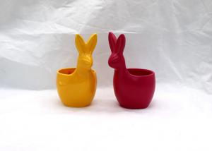 China Easter Bunny Ceramic Vases And Pots Colorful Flower Pots For Table Decoration on sale