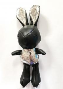 China 20CM Cute Rabbit Plush Doll , Black Leather Material Rabbit Soft Toy on sale