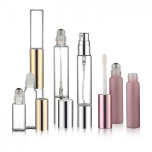 China Perfume / Oil Glass Roller Bottles Silk Screen Printing Customize Color on sale
