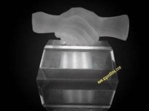 China Crystal Hand Shake Hand Trophy on sale