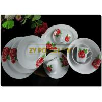 20 Piece Roses Cover Dining Plate Sets , Round Dinner Sets  With Cups And Tea Pot Custom Logo