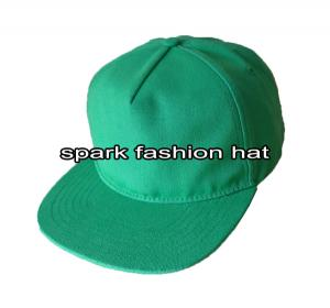 Quality Fashion adjustable green 5 panel 100% canvas blank flat brim snapback hats for sale