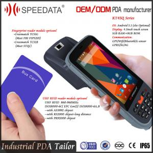 China Integrated Handheld UHF RFID Reader , Waterproof Barcode Scanner Fingerprint on sale