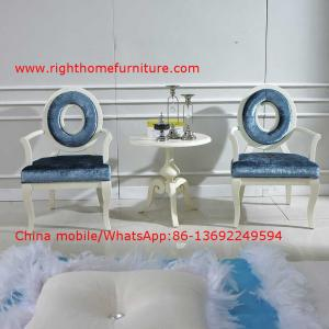 China Leisure fabric with white painting solid wood chair in Neoclassical design and cocktail end table on sale
