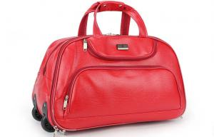 China Portable red roller gear travel bags with retractable handle for ladies on sale