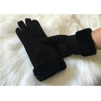 China Ladies Black Shearling Lambskin winter Gloves double face sheepskin leather glove on sale