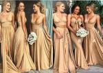 Floor Length Champagne Bridesmaid Dresses / Crystal Silk Bridesmaid Dresses