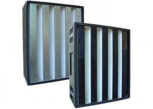 China Rigid Absolute Hepa V Bank Filters For Air Conditioning Units , Large Dust Capacity on sale