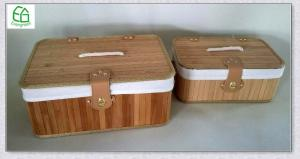 China New style 100%hand made bamboo rectangle  storage basket with lid , cotton handle, fabric liner on sale
