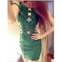 China Hot selling gold metal cut out strappy bandage dress,sexy evening party dress on sale