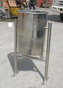 China Welded Metal Trash Bin Stainless Steel Kitchen Trash Cans For School on sale