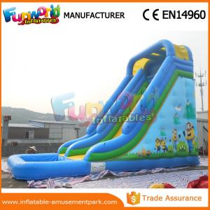 China Durable Minion Outdoor Inflatable Water Slides Inflatable Bouncer Slide With Pool on sale