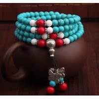 China Blue Turquoise mala necklace, Buddhist prayer beads necklace, gemstone mala necklace on sale