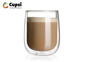 China Borosilicate Double Wall Glass Coffee Cups Practical Design For Espresso / Cappuccino on sale