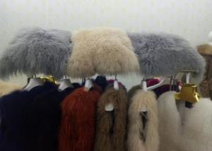 China One Sided Mongolian Lamb Lumbar Pillow , 16*16 Mongolian Sheepskin Throw Pillows  on sale