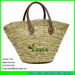 China LUDA elegant lady hand bag shoulder corchet seagrass straw shopping beach bag on sale