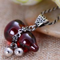 China Thai Sterling Silver Pendant Necklace with Gourds Shape Red Cubic Zircon Charm(XH0384) on sale