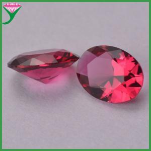 China wholesale oval egg diamond cut rose colored glass semi-precious stone on sale