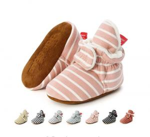 China Wholesale cheap Cotton fabric striped print socks soft sole prewalk boy girl baby booties on sale