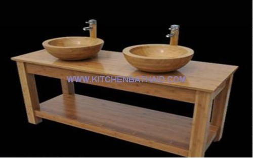 Bamboo Console Vanity Cabinet for Vessel Sink for sale – Natural ...