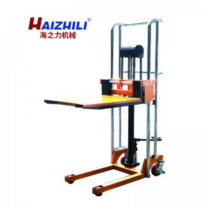 China Flat Plate Type Manual Forklift Stacker , Warehouse Lifting Equipment on sale