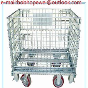 China Storage Metal Roll Cages Folding Wire Mesh Box & Container/foldable galvanized industrial stackable storage cages on sale