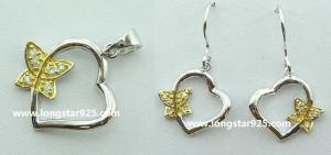 China butterfly jewelry sets, butterfly silver pendant,925 silver jewelry wholesale jewelry on sale
