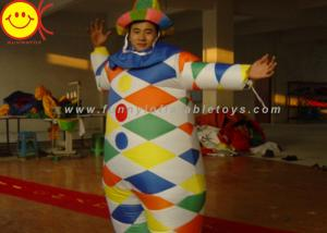 China Nylon Multicolor Inflatable Clown Costume With Hat Suitable For 1.8 Meters Man on sale